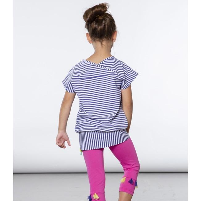 Deux par Deux (デューパーデュー)Striped Tunic With Food Prints & Fuchsia Capri Legging Set 20%Off sugardays 05