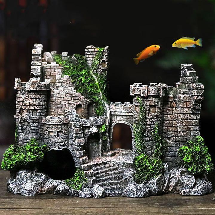 水槽 古城 廃墟 オブジェ 魚 祝日 隠れ家 初回限定 アクアリウム 飾り 置物 模型