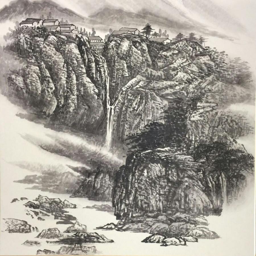 水墨画 水墨画全集 山水図  峰の上の村落 傅栄基作 no16