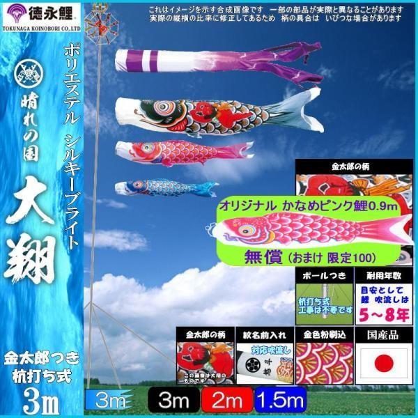 鯉のぼり 徳永 こいのぼりセット 大翔 庭園用ガーデンセット 杭打込み 3m6点 139587335