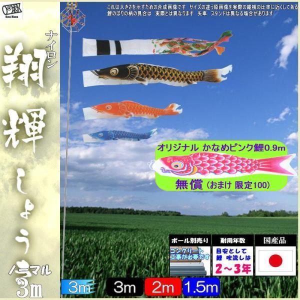 鯉のぼり キング印鯉 2711630 ノーマルセット 翔輝 3m3匹 翔輝吹流し 139730705