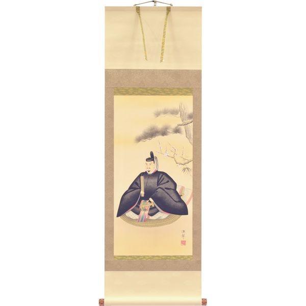 掛軸 翠峰オリジナル 天神様 尺幅アンド丈4尺 深翠 軸先九谷焼 139860