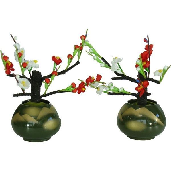 桜橘 花 単品 部品売り 19cm 雛用花鉢 双花 紅白梅 抹茶連山 257991