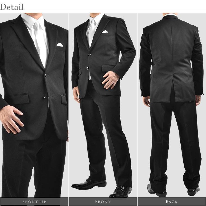 オールシーズン対応 シングル 2ツボタン メンズスーツ 紳士服 礼服 漆黒 フォーマル ストレッチ素材 パンツアジャスター付き|suitbeat|04