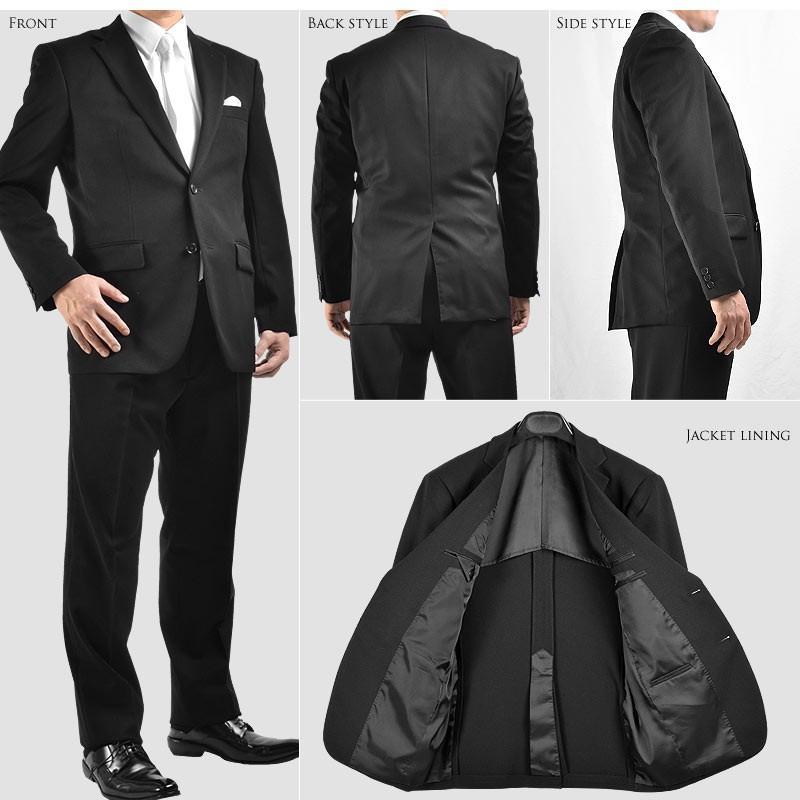 オールシーズン対応 シングル 2ツボタン メンズスーツ 紳士服 礼服 漆黒 フォーマル ストレッチ素材 パンツアジャスター付き|suitbeat|05