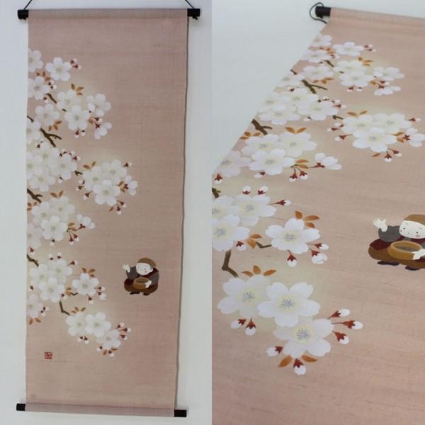 麻布 タペストリー 壁飾り 花咲かじいさん 手描き 45×120 45×120 TP90079
