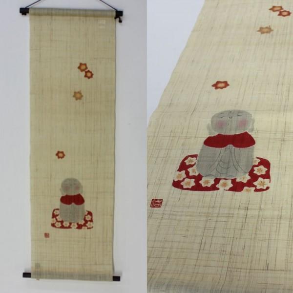 麻布 麻布 もみじ地蔵 タペストリー 壁飾り 手描き 30×100 TP90082