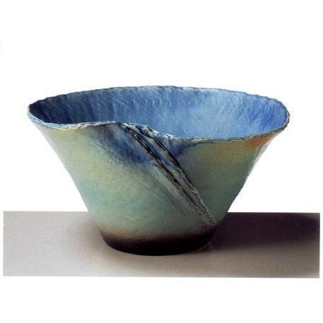 信楽焼 ブルーガラス ひねり 水鉢 24号