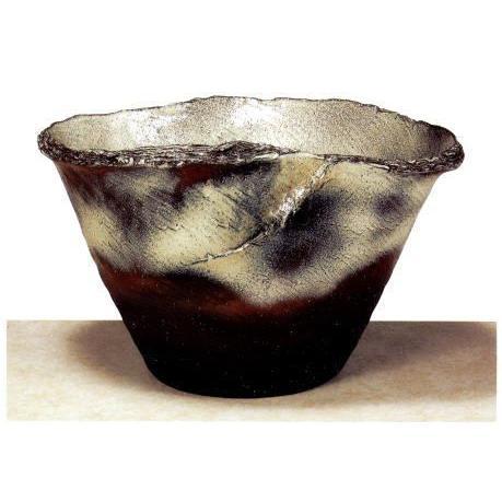 信楽焼 コゲチタン ひねり 水鉢 21号