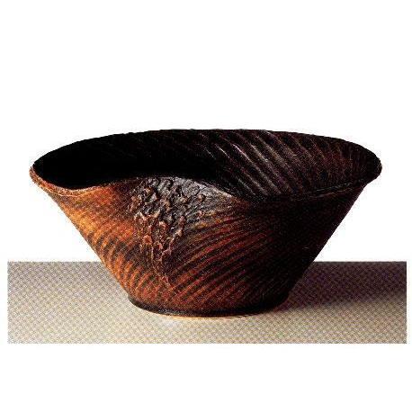 信楽焼 コゲラセン彫り 水鉢 22号