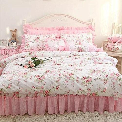 パストラル ピンクのバラの花柄のかわいい綿のベッドカバーセット ピンクのバラの花柄のかわいい綿のベッドカバーセット シングル マルチカラー