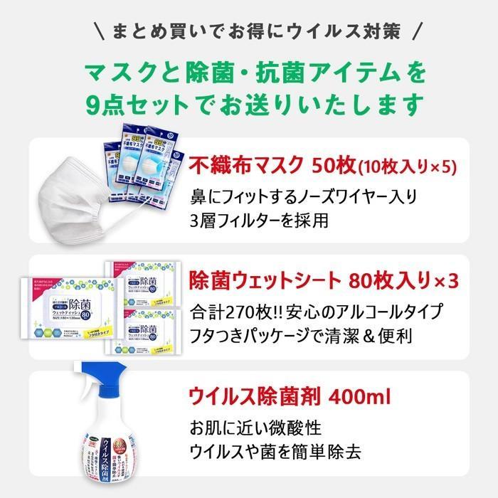 ウイルス対策 9点セット マスク 除菌 抗菌 アイテム ウェットシート スプレー 送料無料|sunfield555|02
