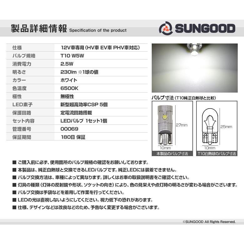 スズキ ハスラー MR52S MR92S ライセンスランプ T10 LED バルブ ホワイト 実測値230lm 6500K 雷公 180日保証 1個入 sungood 03