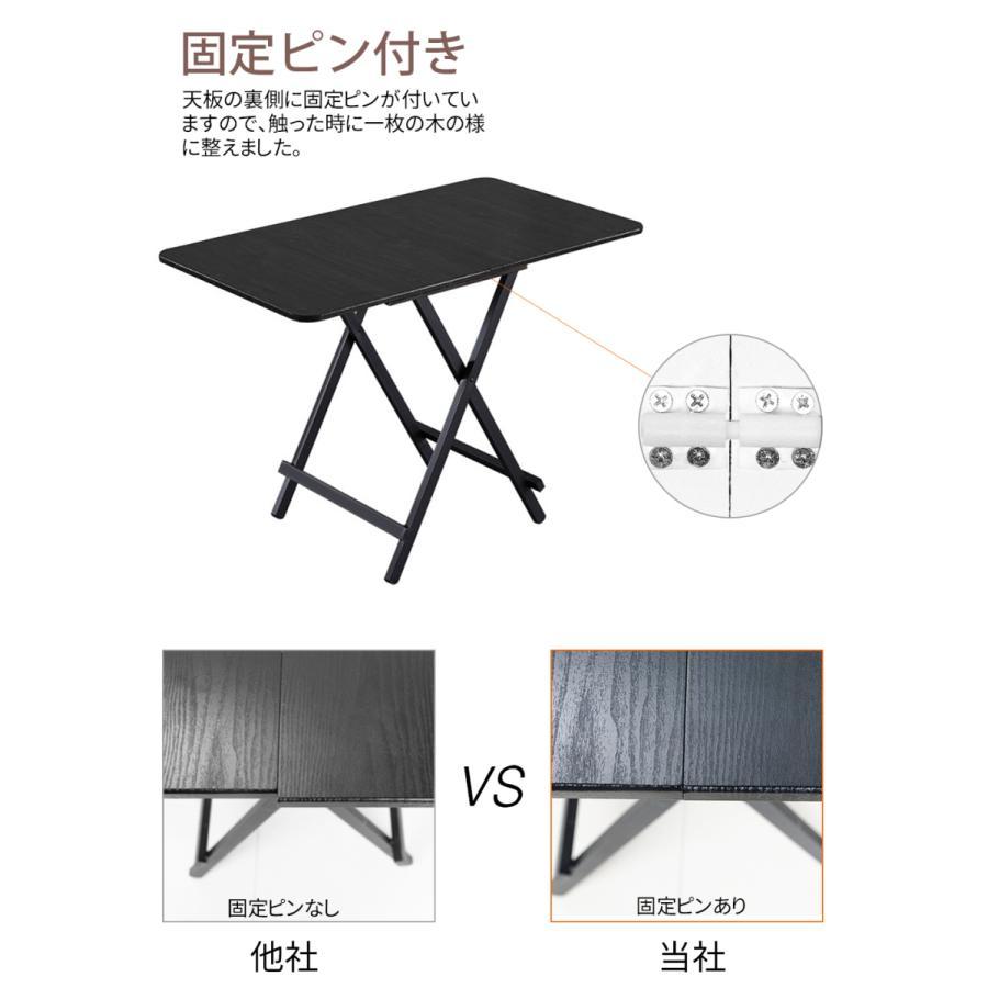 ダイニングテーブル 折りたたみ 木製 軽量 リビングテーブル ダークブラウン デスク 机 完成品 作業机 学習机 キッチン 作業台 sunpie 04