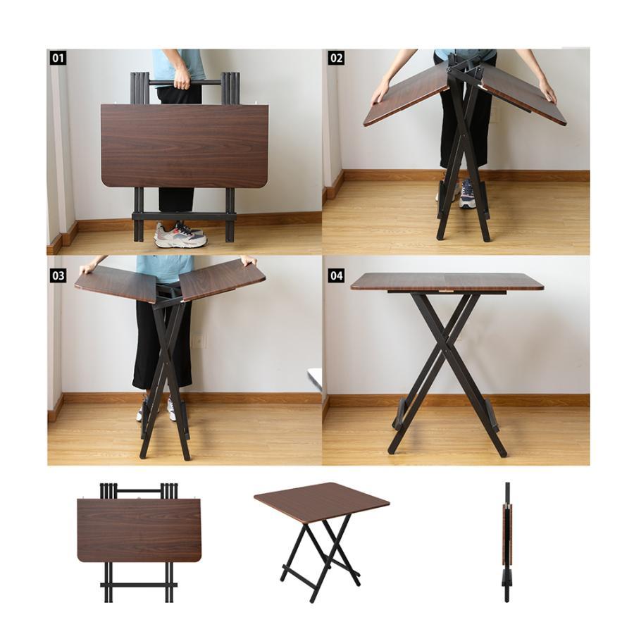 ダイニングテーブル 折りたたみ 木製 軽量 リビングテーブル ダークブラウン デスク 机 完成品 作業机 学習机 キッチン 作業台 sunpie 09