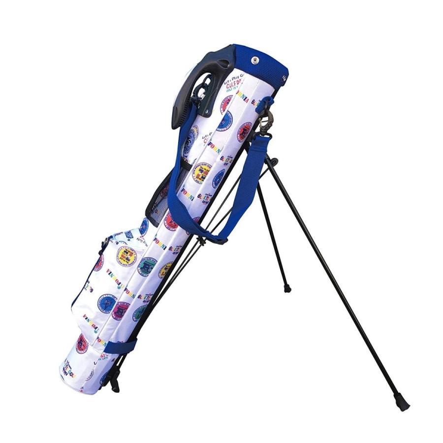 ブルーティーゴルフ 青 TEE GOLF California セルフスタンドバッグ&クラブケース BTGロゴプリント柄 (ホワイト)
