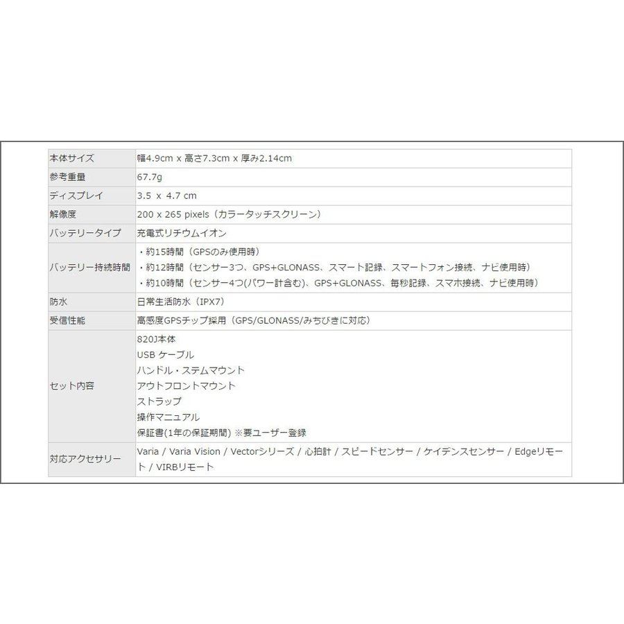 GARMIN(ガーミン) EDGE 820J 日本語版 GPSサイクルコンピューター(単体) 004416