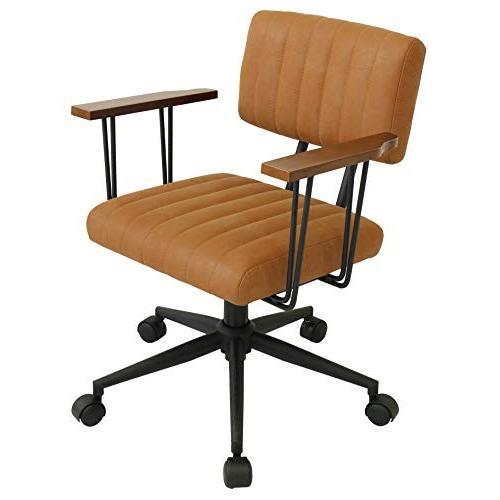 オフィスチェア 肘置き付き昇降椅子 肘置き付き昇降椅子 パソコンチェア レトロ 天然木 オーク材 スチール