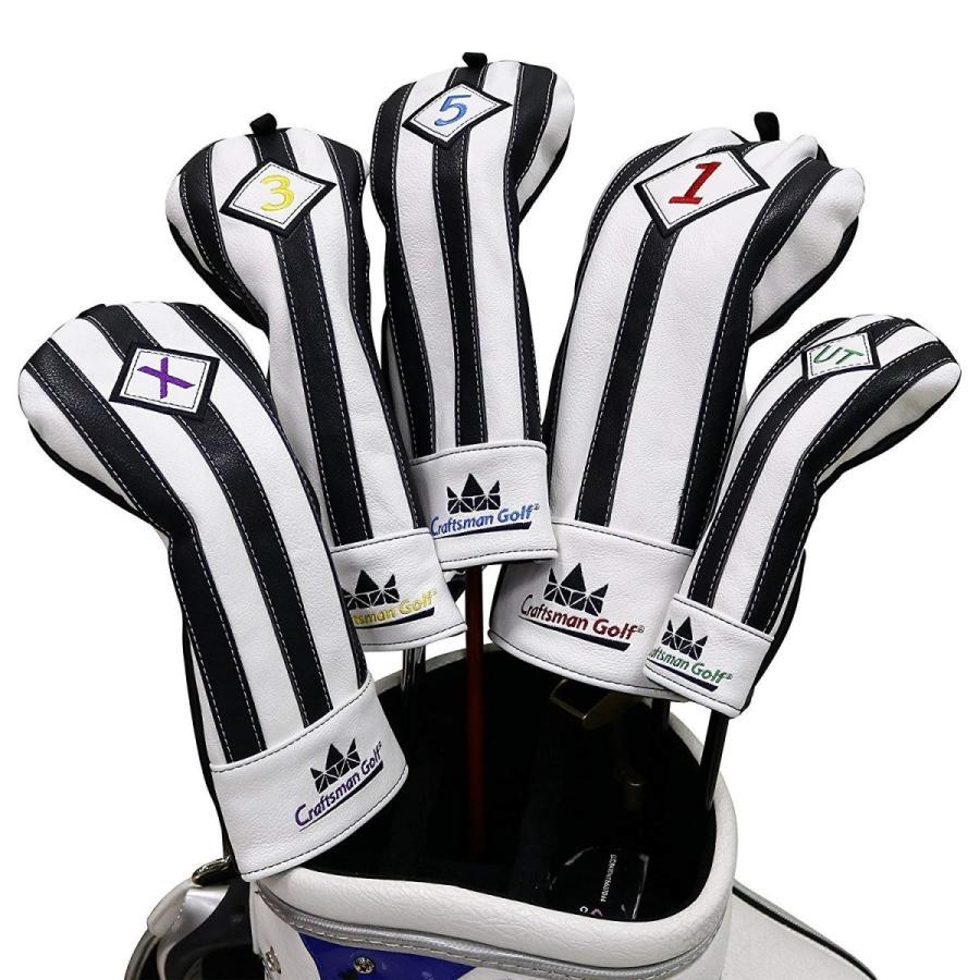 CRAFTSMAN(クラフトマン)ユベントスファン向け イタリア風 ゴルフヘッドカバー 合成レザー製 たて縞黒白 バージョンアップ (135