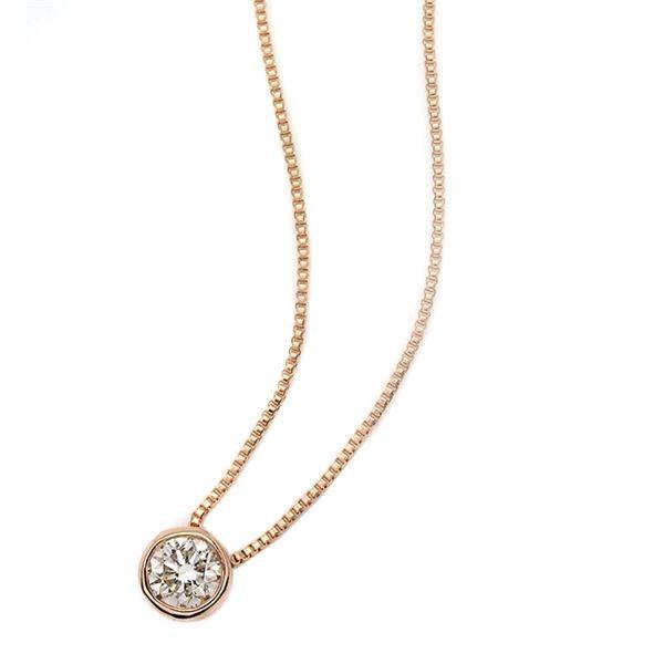 高い品質 ダイヤモンド ネックレス 一粒 高級 0.1ct K18 ピンクゴールド Nudie Heart(ヌーディーハート) 人気の覆輪留 ペンダント, エヌマグン 9bfa654b