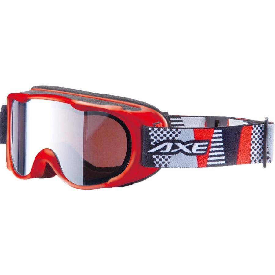AXE(アックス) ジュニア スキー・スノーボードゴーグル UVカット シルバーミラーレンズ AX270-WMD レッド(RE)