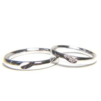 最新な K14WG ペアリング 9号&15号 ダイヤモンド0.01ct, ユリハマチョウ 93d95171