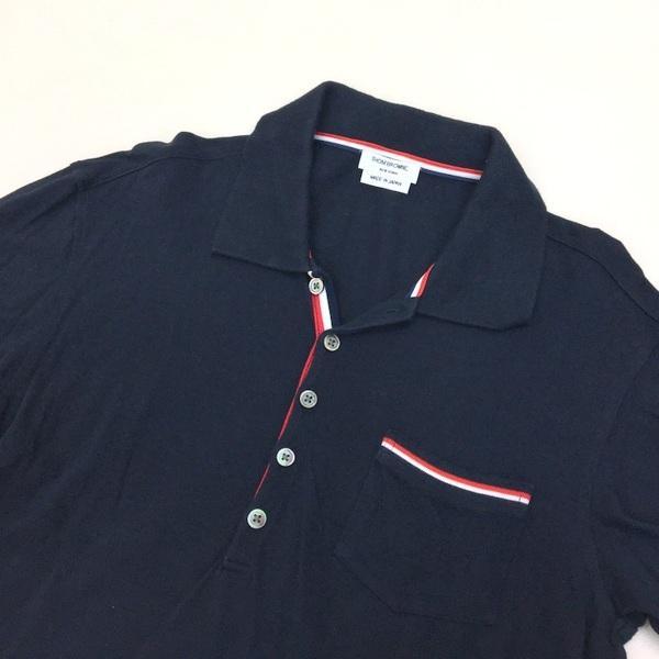 トムブラウン トリコロール ストライプ ポロシャツ コットン 鹿の子 半袖 日本製 ネコポス可 メンズ THOM BROWNE トップス DM1399■|sunstep|03