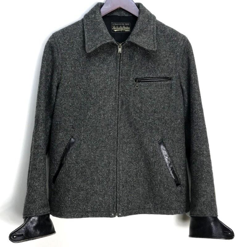 ◆WACKO MARIA ウールジャケット コート レザー 切替 バック刺繍 メンズ S チャコールグレー ワコマリア アウター A1563