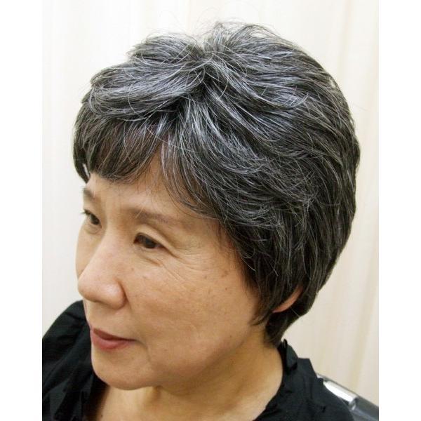 ネット限定 白髪30% ソフトショート 軽いウイッグ 自然仕上げ ハンドメイド ご来店で調整カット付き 医療用|super-hair-seo|02