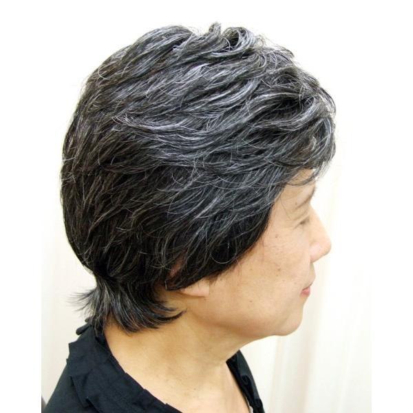 ネット限定 白髪30% ソフトショート 軽いウイッグ 自然仕上げ ハンドメイド ご来店で調整カット付き 医療用|super-hair-seo|03
