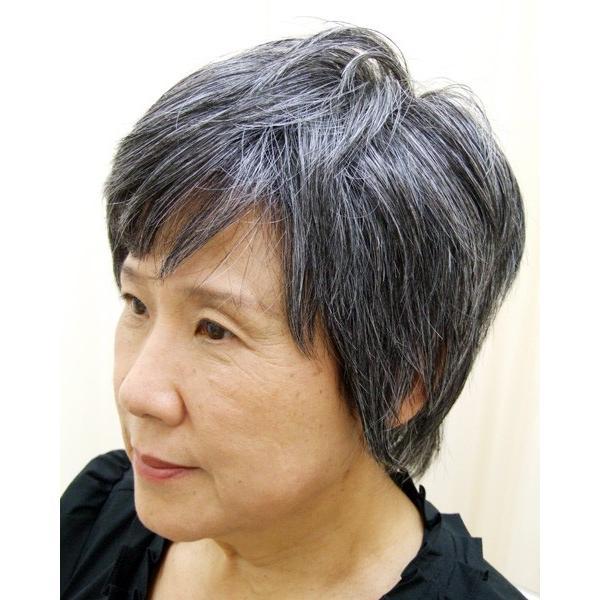 白髪30%  マッシュショート  軽いウイッグ 自然仕上げ ハンドメイド ご来店で調整カット付き 医療用 super-hair-seo