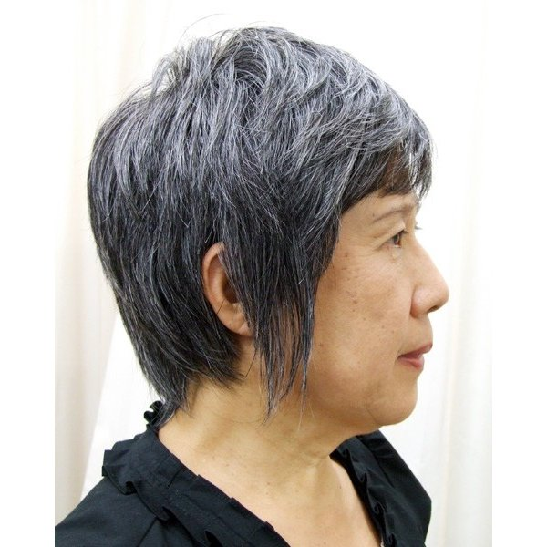 白髪30%  マッシュショート  軽いウイッグ 自然仕上げ ハンドメイド ご来店で調整カット付き 医療用 super-hair-seo 03
