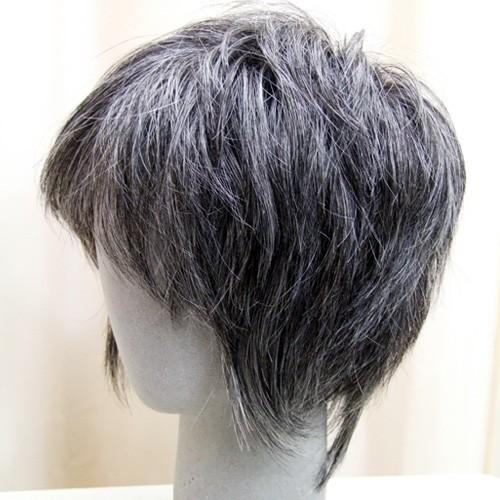 白髪30%  マッシュショート  軽いウイッグ 自然仕上げ ハンドメイド ご来店で調整カット付き 医療用 super-hair-seo 05