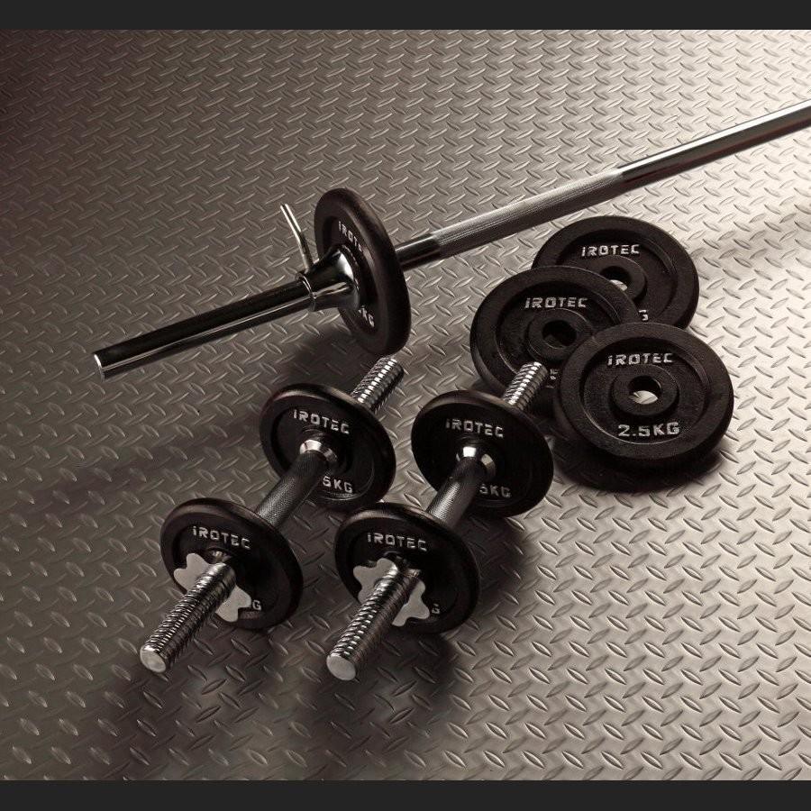 IROTEC(アイロテック)バーベル ダンベル セット 30kg アイアン/ベンチプレス トレーニング器具 バーベルセット 筋トレ器具 筋トレ ホームジム 家トレ