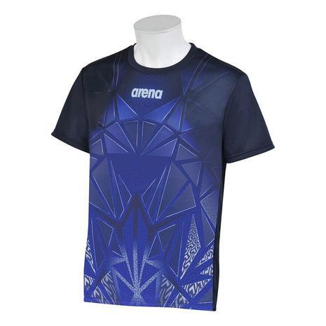 アリーナ 祝開店大放出セール開催中 送料無料限定セール中 ARENA BISHAMON昇華プリントTシャツ UPF15 AMUQJA51 NVY メンズ
