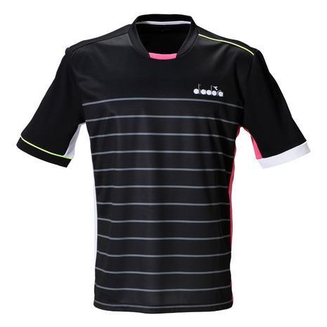 ディアドラ diadora ゲームシャツ DTG0386-99 メンズ ウェア テニス 日本正規代理店品 半袖シャツ 定番キャンバス バドミントン