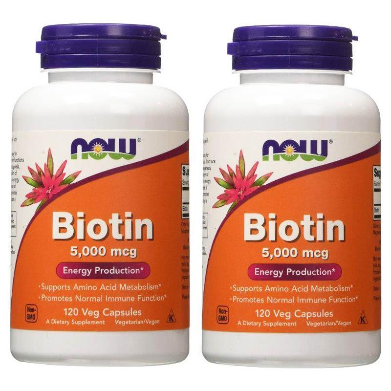ナウフーズ ビオチン 5000mcg 120錠 2本セット NOW FOODS Biotin 5000mcg 120 veg cap 2set supla