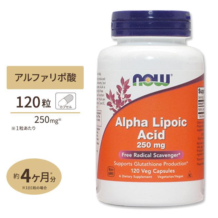 αリポ酸 サプリ 250mg 120粒 NOW Foods ナウフーズ|supplefactory