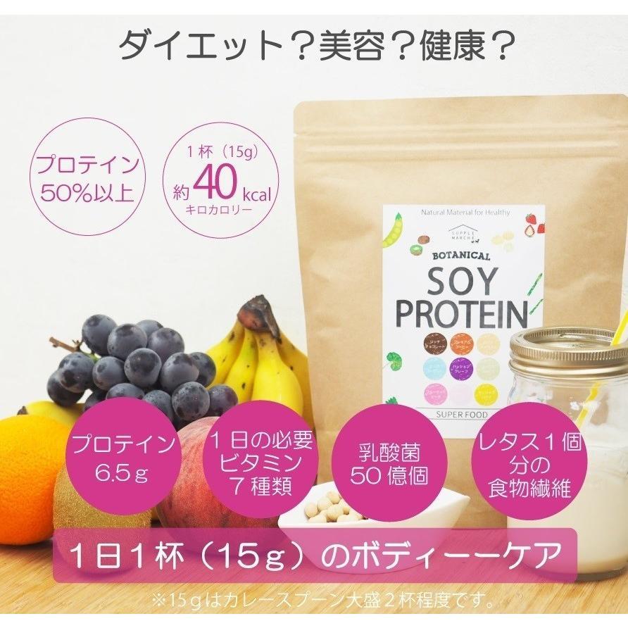 お徳用2個セット ボタニカル ソイプロテイン 300g(非遺伝子組替) 選べる9種類の味 7種のビタミン コラーゲン 乳酸菌 酵素パウダー|supplemarche|03