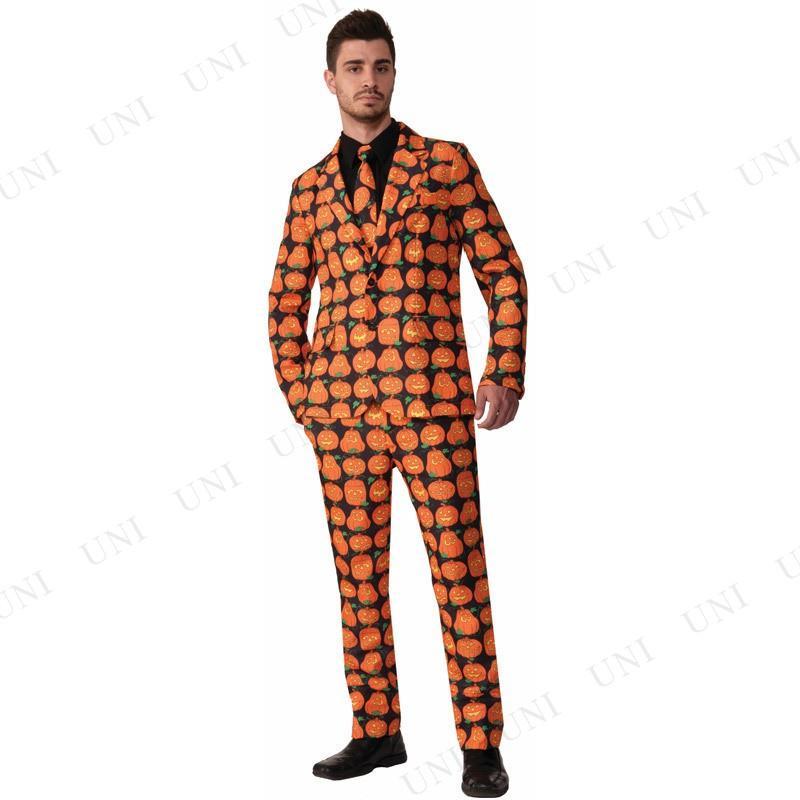 パンプキンスーツ&ネクタイ XL コスプレ 衣装 ハロウィン 仮装 余興 コスチューム