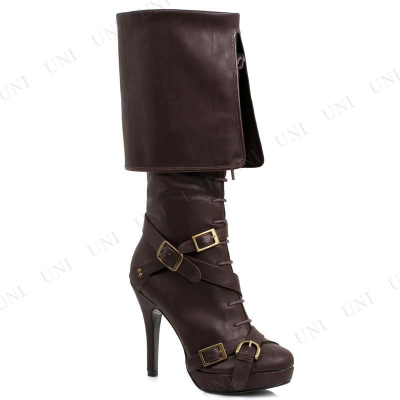 パイレーツ レースアップブーツ ブラウン 24cm 衣装 コスプレ ハロウィン 大人用 靴