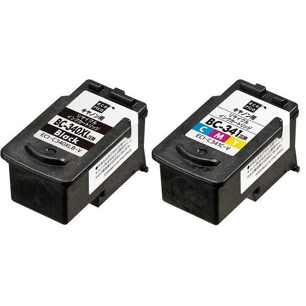 BC-340XL ブラック大容量 BC-341 カラー標準 エコリカ リサイクルインク 2個セット ECI-C340XLB-V ECI-C341C-V 各1個|supplyr