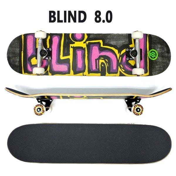 BLIND/ブラインド コンプリートスケートボード/スケボー CHALK FP COMP 8.0 YELLOW/PURPLE/PINK 送料無料 SKATEBOARDS スケボー 完成品 SK8