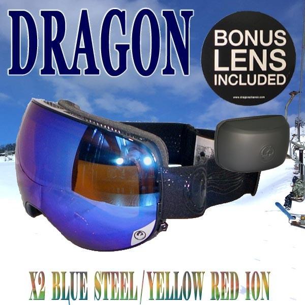 DRAGON/ドラゴン SNOW GOGGLE X2 FOUR BRYAN IGUCHI SIGNATURE 青 STEEL/黄 赤 ION SNOWBOARDS GOGGLE スノーボード