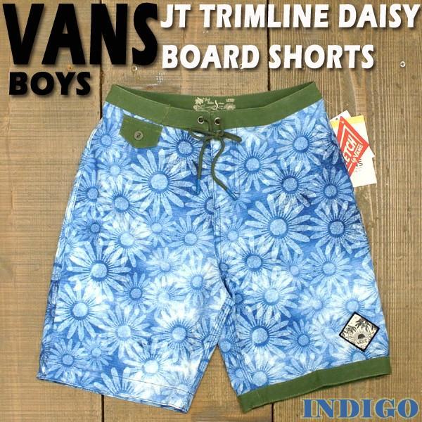 値下げしました!VANS/バンズ ボーイズサイズ子供用 サーフパンツ/ボードショーツ/サーフトランクス JT TRIMLINE DAISY BOARDSHORTS INDIGO BOYS子供用水着