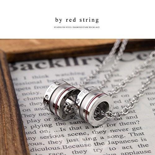 【在庫あり/即出荷可】 本物の赤い糸が入った ペアネックレス ダイヤモンド サージカルステンレススチール(316L) ベビーリング 男女ペア2本セット 金属アレルギ, イサミ deaef92d