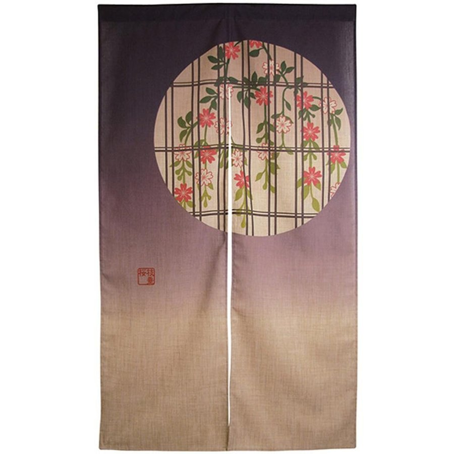 のれん 和柄 モダン 暖簾 和風モダン 麻半間のれん 3525 枝垂れ桜