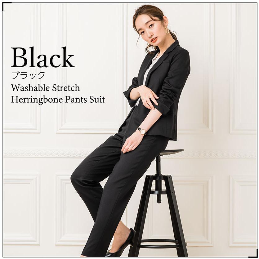 スーツ レディース パンツスーツ 洗える ストレッチ シャドーストライプ パンツ ビジネス オフィス 通勤 OL 女性 黒 紺 ネイビー 小さいサイズ 大きいサイズ sutekitaiken 06