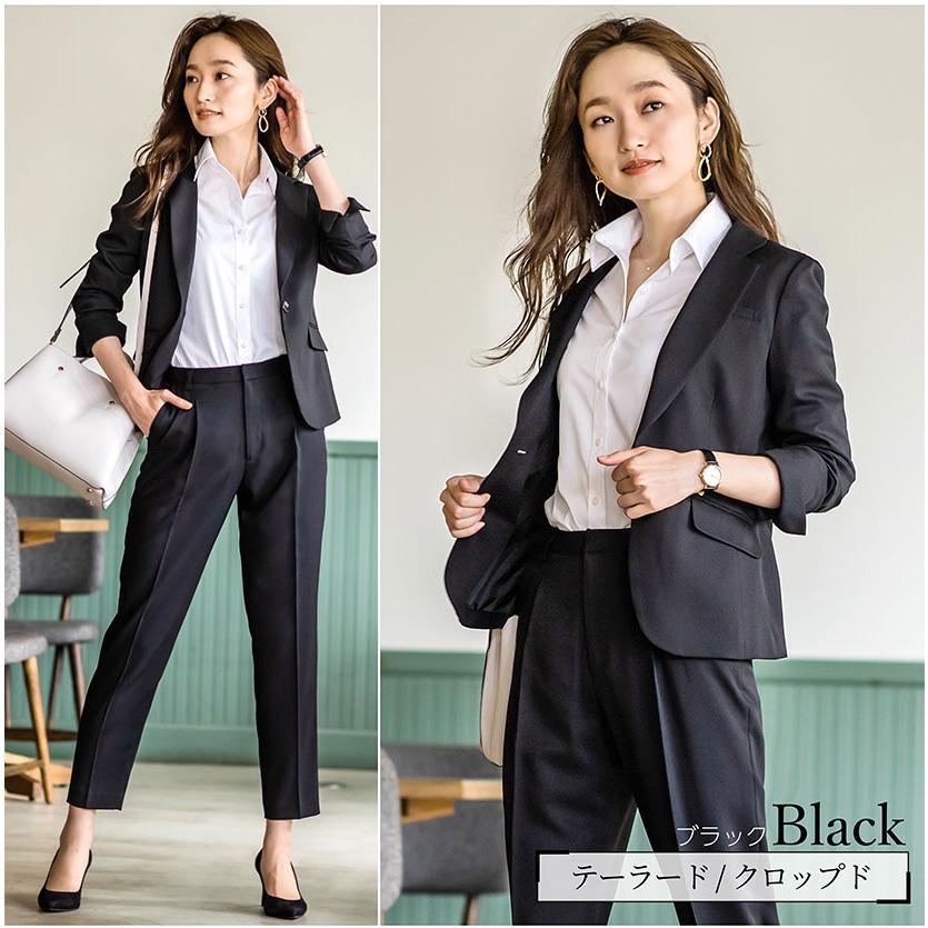 スーツ レディース パンツスーツ 洗える ストレッチ シャドーストライプ パンツ ビジネス オフィス 通勤 OL 女性 黒 紺 ネイビー 小さいサイズ 大きいサイズ sutekitaiken 08