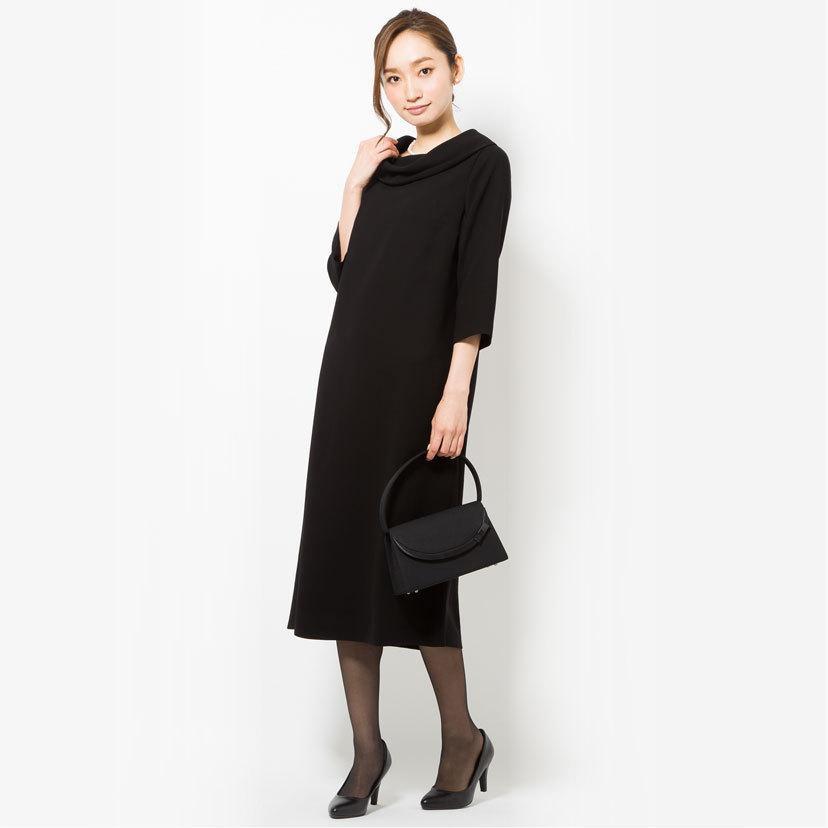 喪服 レディース 洗える ロング丈 ワンピース 礼服 夏 ブラックフォーマル ロールカラー 20代 30代 40代 50代 ゆったり 大きいサイズ 小さいサイズ|sutekitaiken|11